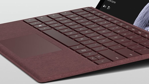 Surface Pro with burgundy Type Cover