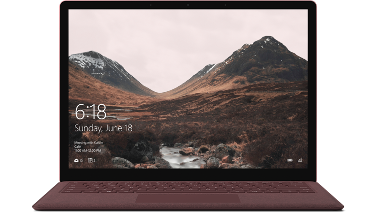 Burgundy Surface Laptop viewed from the front