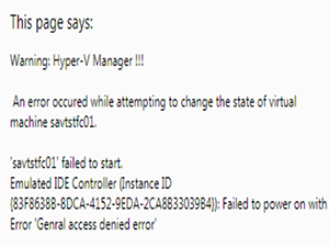 Warning: Hyper-V Manager !!!