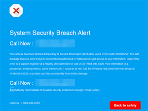 System Security Breach Alert