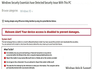 Malware Alert! Your device access is disabled to prevent damages.