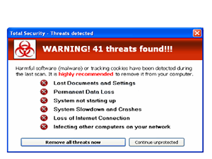 Warning! Spyware detected on your computer! 41 threats found!!!