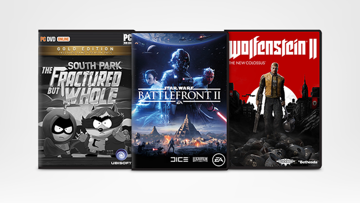 PC games South Park The Fractured but Whole, Star Wars Battlefront II, and Wolfenstein II