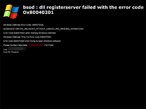 bsod : dll registerserver failed with the error code 0x80040201