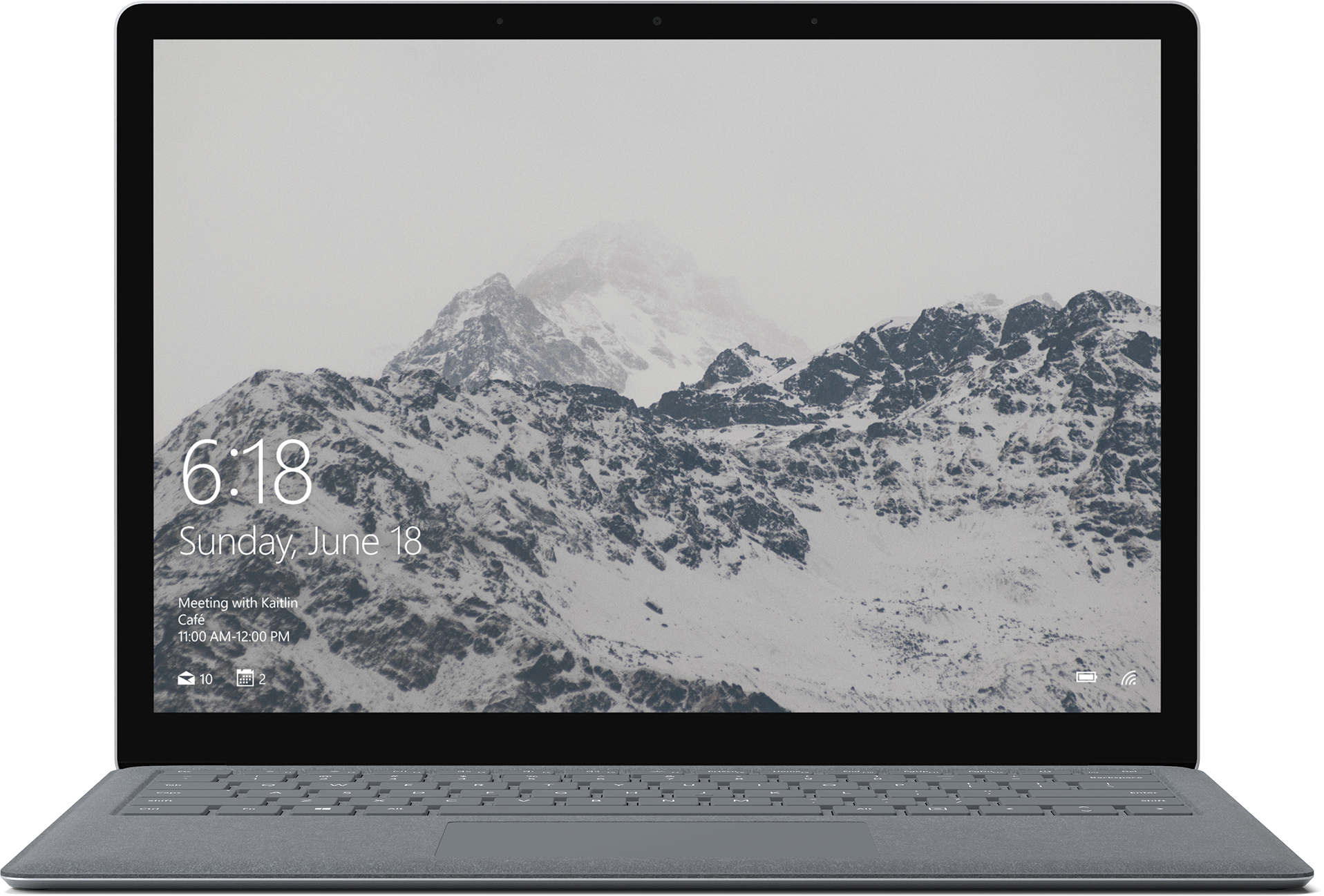 A surface laptop in working state with the front view