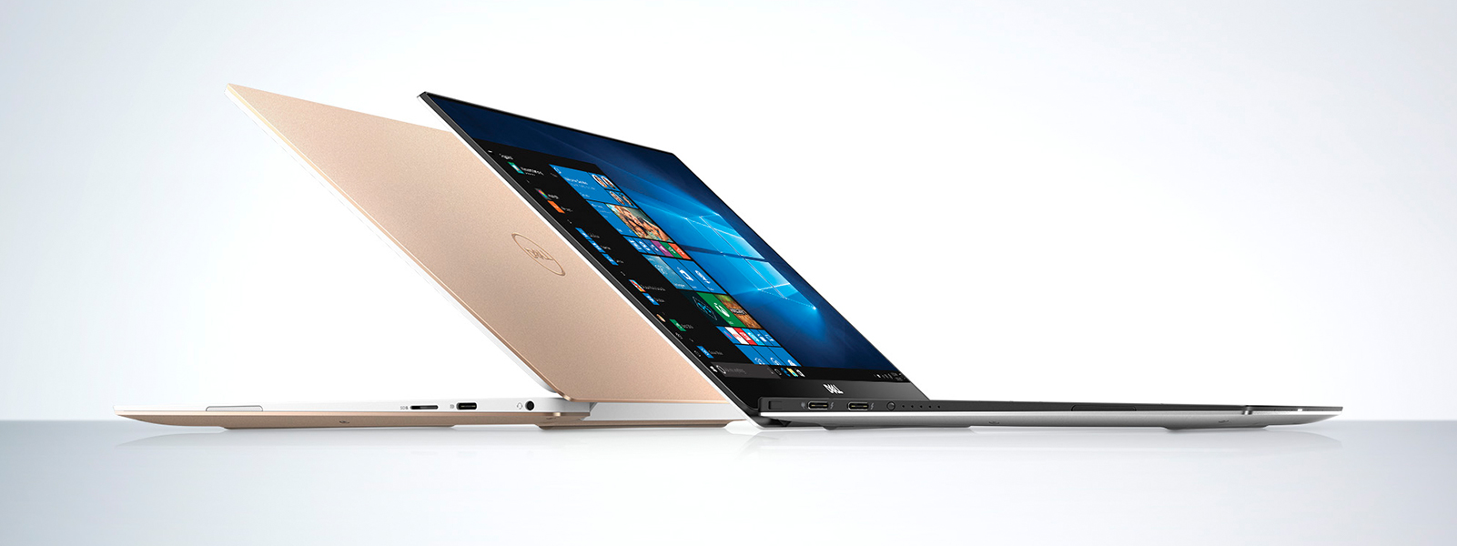 A silver and gold Dell XPS