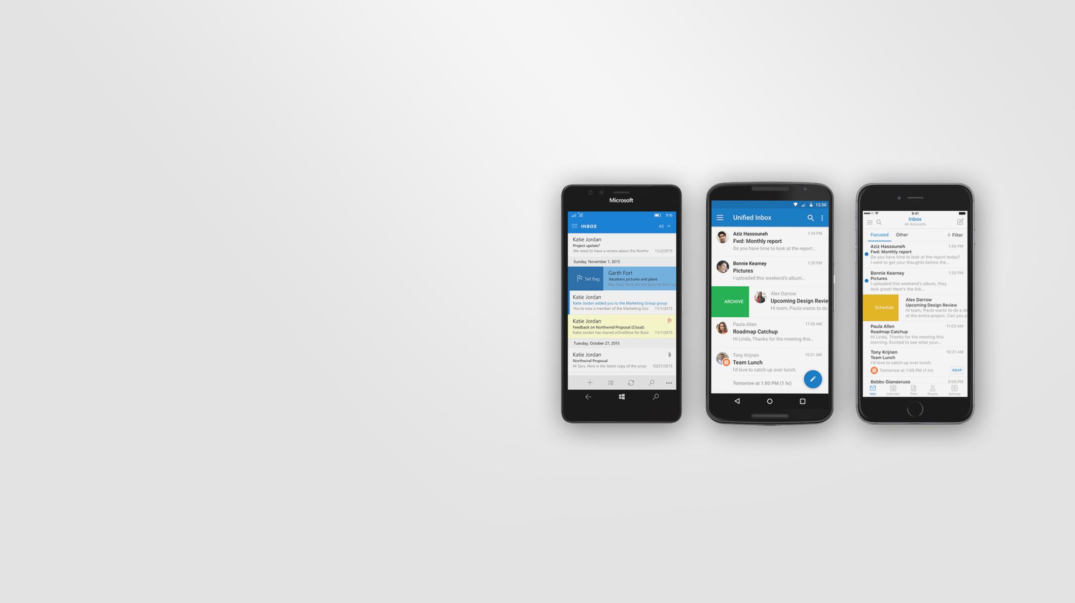 Smartphones showing the Outlook app