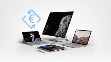 Signe Euro, Surface Book, Surface Pro, Surface Studio et Surface Laptop