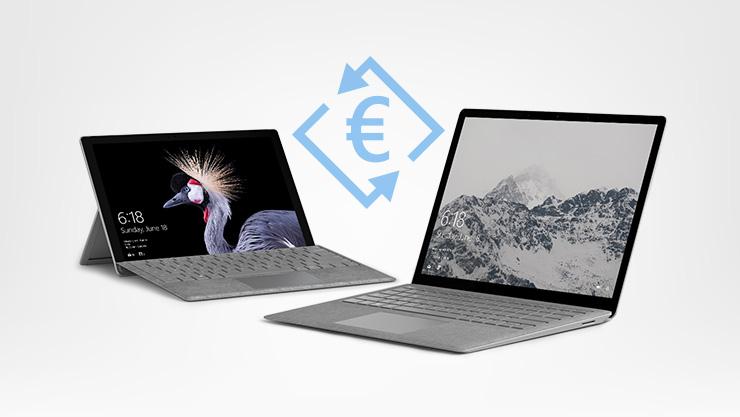 Due dispositivi Surface al centro dei quali vi e' il simbolo dell'euro.