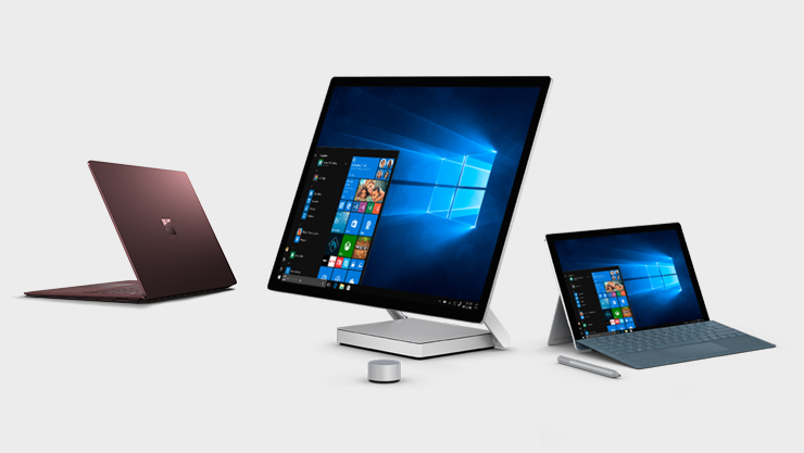 Surface Laptop, Surface Pro und Surface Studio