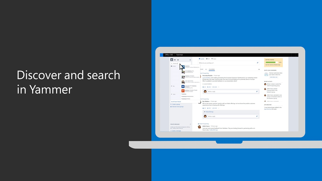 Discover and search in Yammer