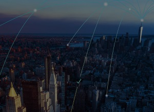 Cityscape with an overlay of internet cloud connection lines