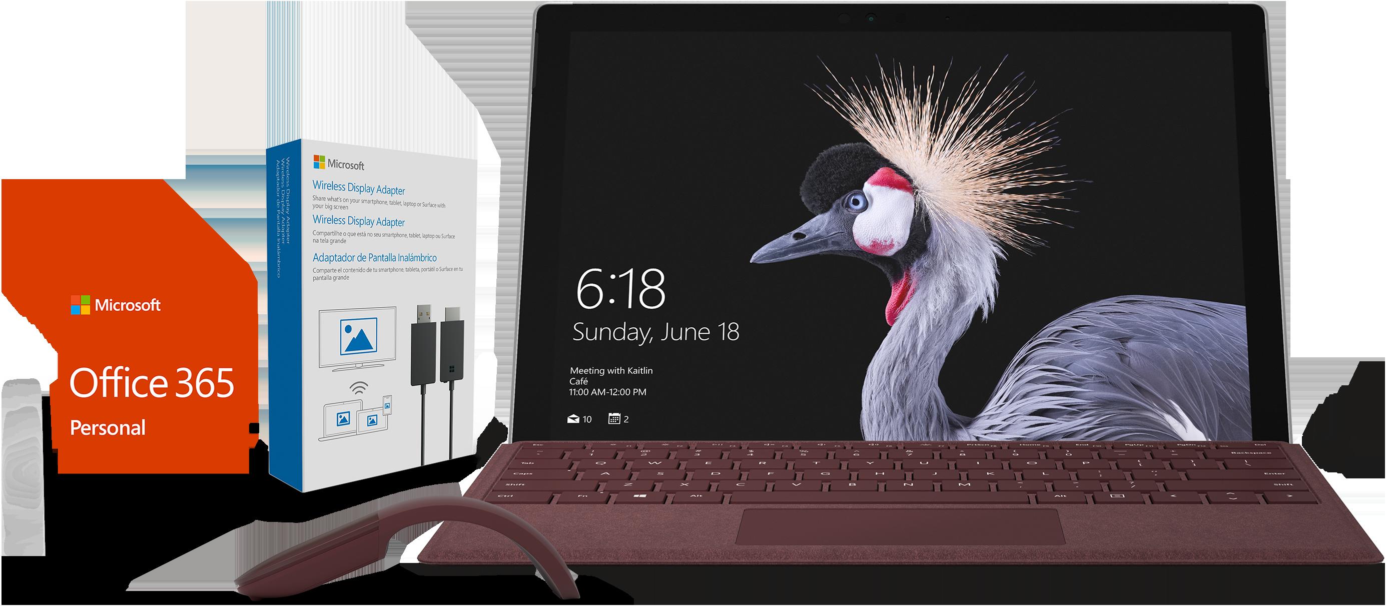 Surface Pro, Type Cover bordeaux, Souris bordeaux