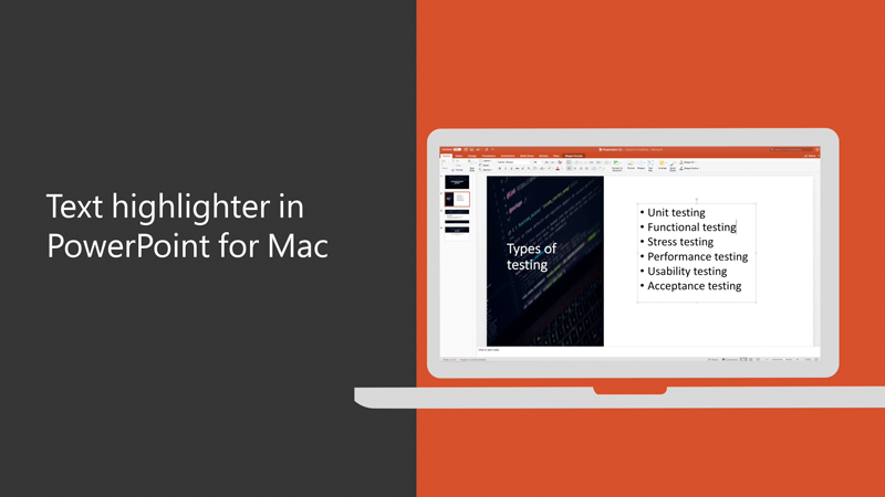 Text highlighter in PowerPoint for Mac