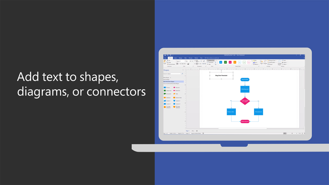 Add text to shapes, diagrams, or connectors
