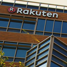 Rakuten company logo on a building