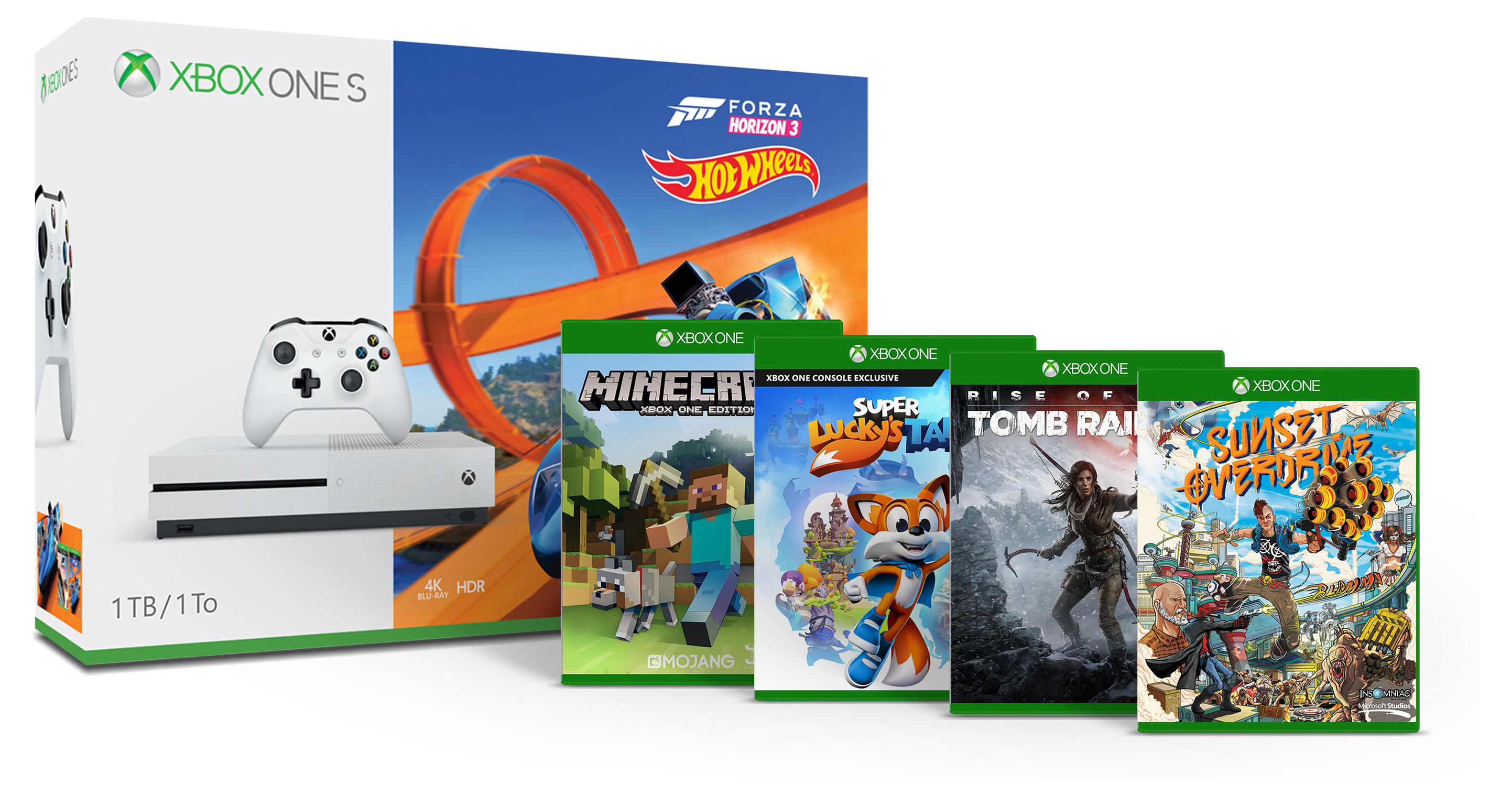 Bundle Xbox One S Forza Horizon 3 Hot Wheels 1 To, Minecraft Explorers, Sunset Overdrive, Rise of the Tomb Raider et Super Lucky's Tale