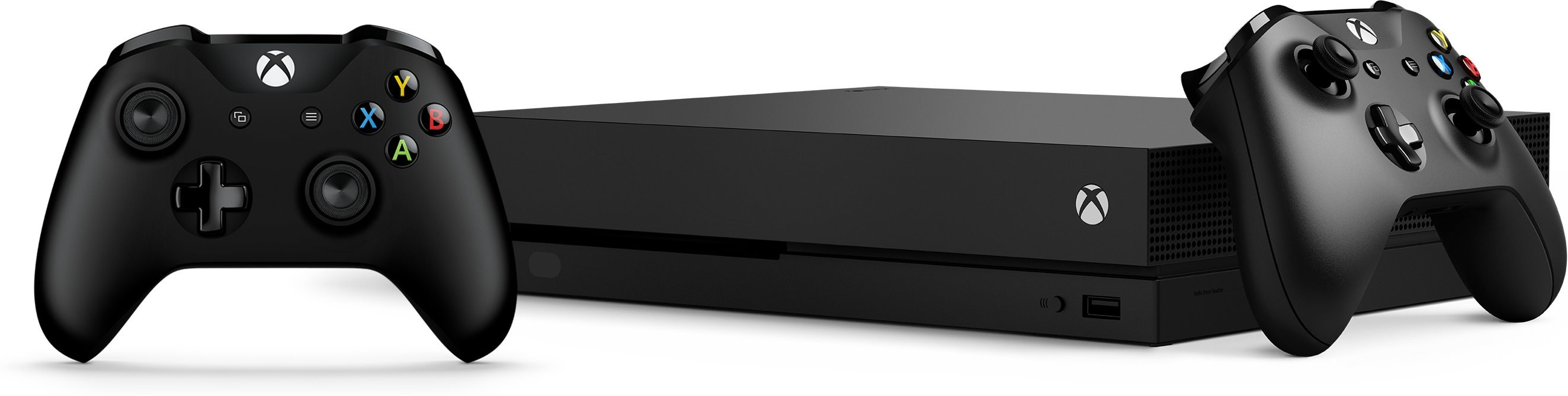 Xbox One X console with two Xbox One controllers