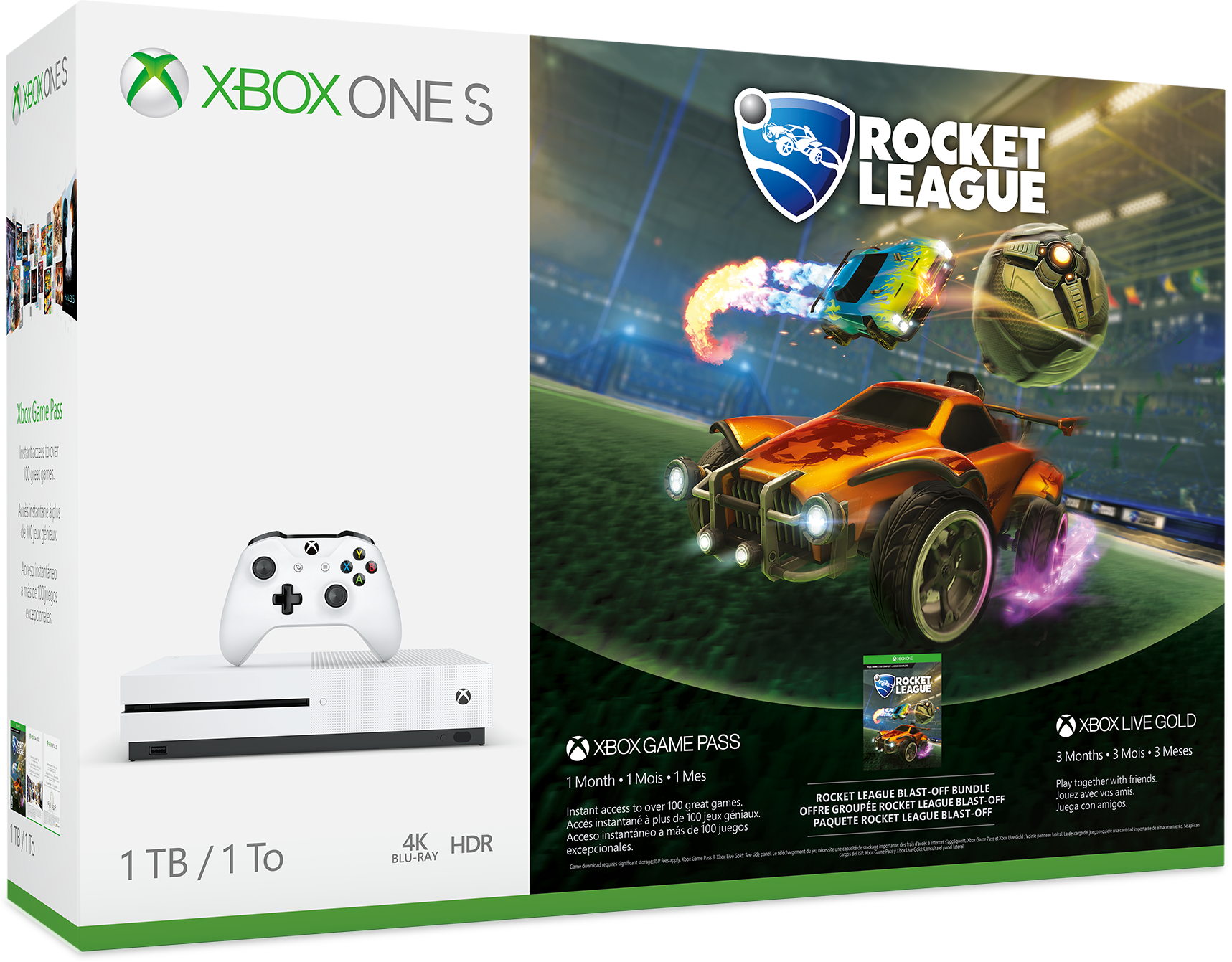 Xbox One S 1 TB Console Rocket League Blast-Off Bundle