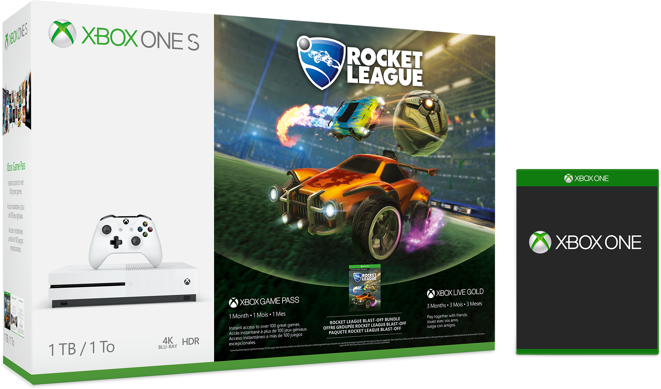 Xbox One S, in box, white with matching wireless controller, Rocket League edition, plus free game