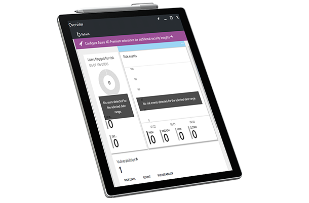 Tabletscherm met Microsoft Security Intelligence-rapport.