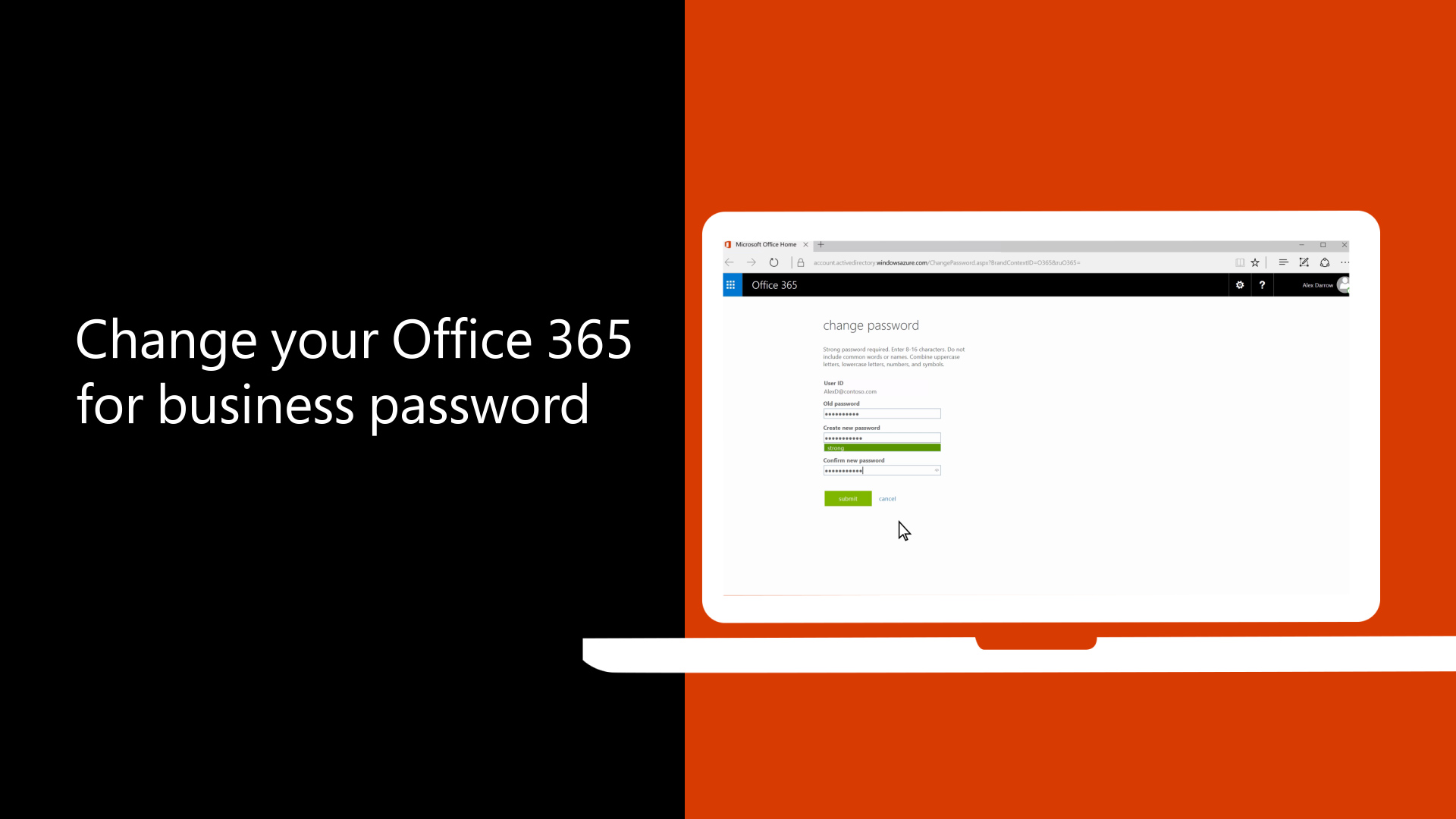 Change your Office 365 for business password