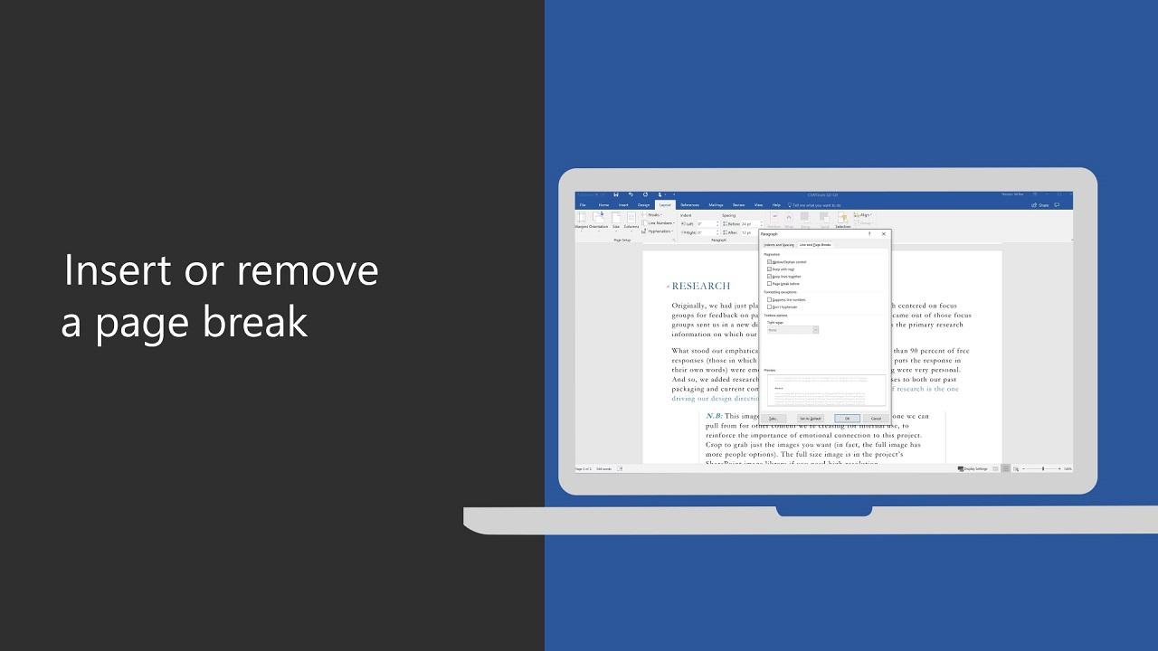 Insert or remove a page break