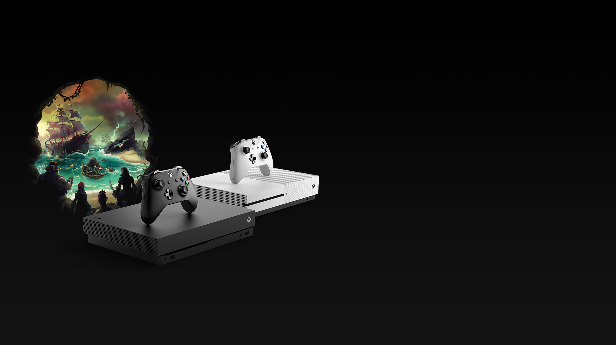 An Xbox One X with a black controller, an Xbox One S with a white controller, and Sea of Thieves game art