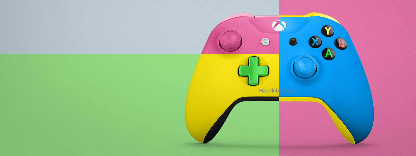 Pastel Xbox design lab controller in Mondrian style engraved with Handlebar Hans