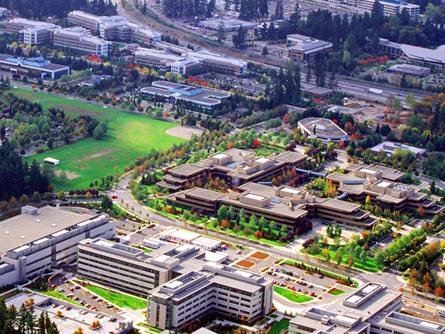 Aerial view of part of Microsoft's Redmond campus.
