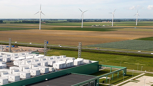 Windmills in the Netherlands powering Microsoft's datacenter.