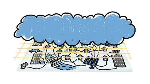 Illustration of Microsoft and Agder's smart power grid.