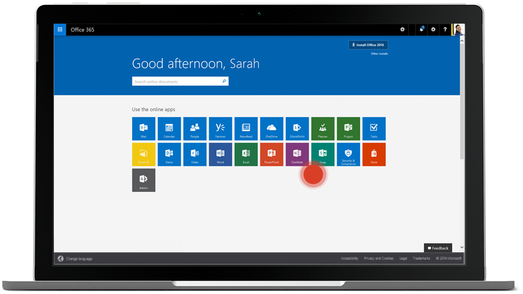 Office 365 Online welcome screen, with a red dot hovering to the right of Office 365 app icons