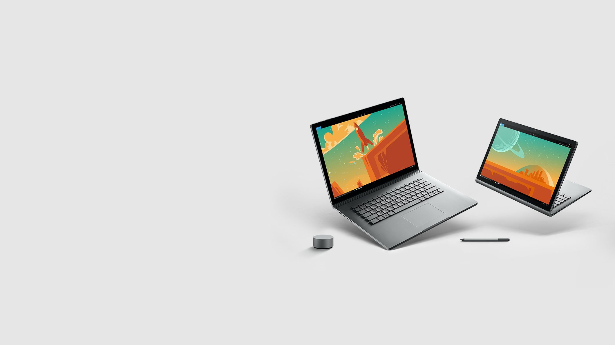Two Surface Book 2 devices in different positions