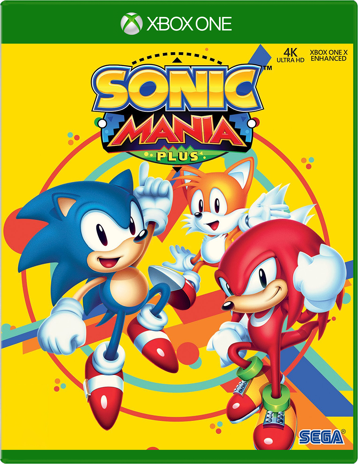 Cover of Sonic Mania Plus for Xbox One featuring Sonic the Hedgehog, Knuckles, and Tails