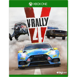 Cover of V-Rally 4 for X-Box One featuring three race cars