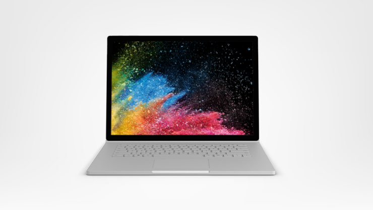 A Surface Book 2 facing forward