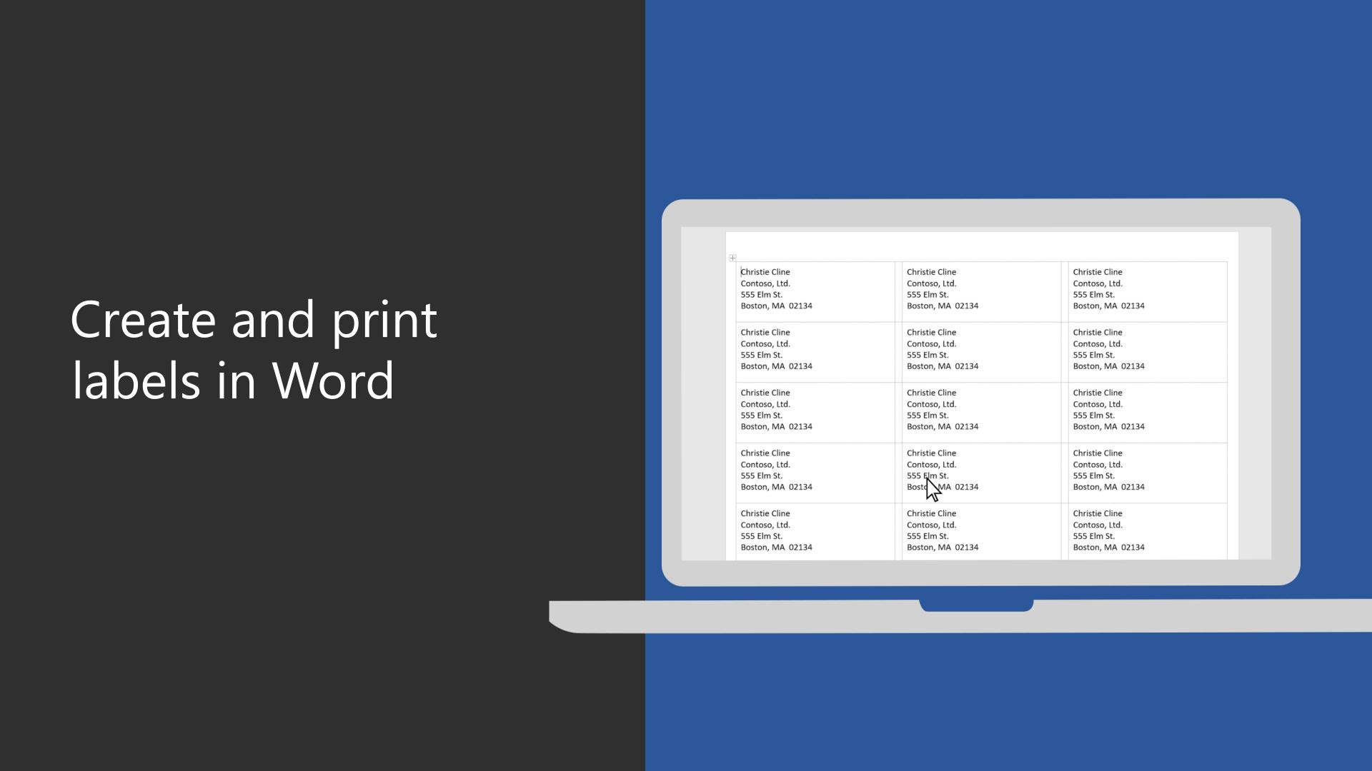 print return address labels word