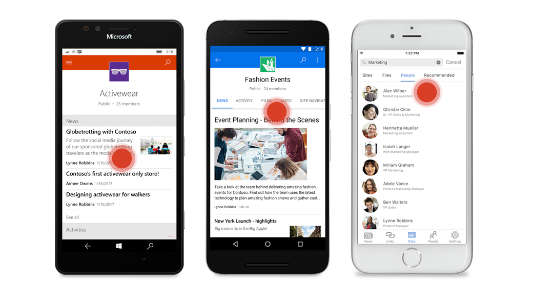 Three smart phones, two showing SharePoint group pages and one showing a list of people in a marketing department