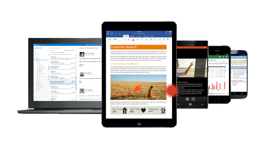 Laptop, smartphones, and tablets with Outlook, Word, Excel, and other Office 365 apps