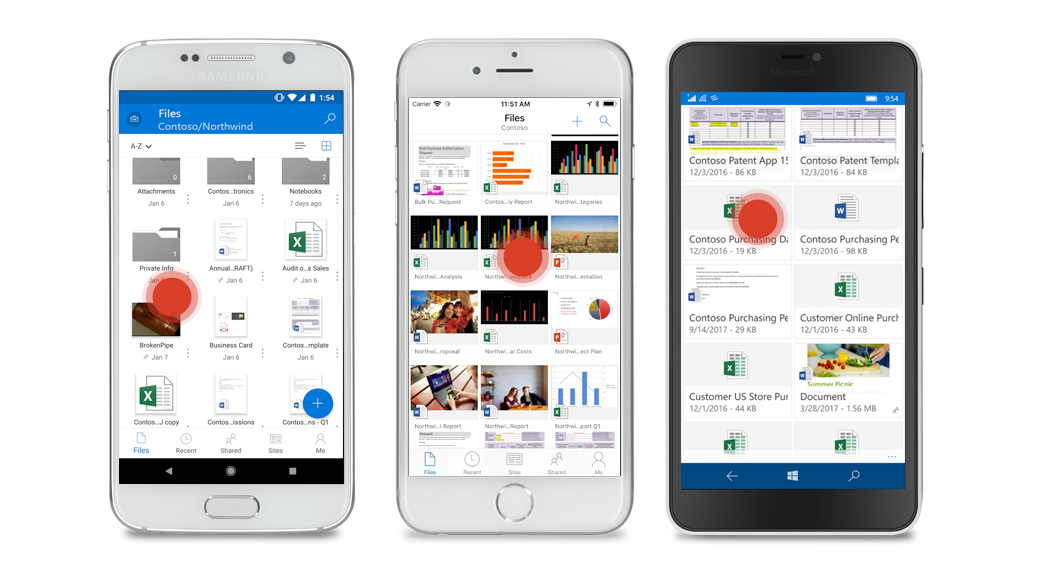 Three smartphones with different views of files in OneDrive for Business and a red dot over each device