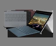 Surface Pro-Gerät mit verschiedenen Type Covern