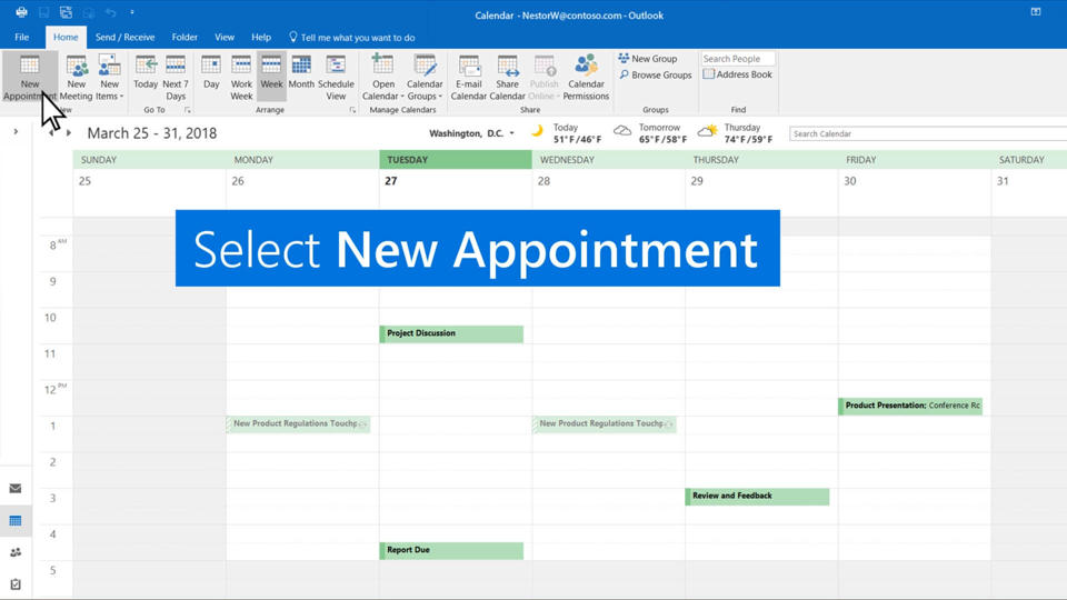 Video Create Appointments And Meetings Outlook