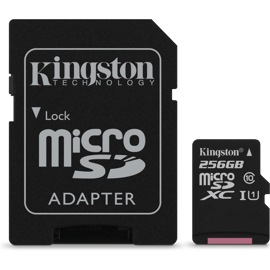 Kingston 256GB microSDXC and the microSD adapter next to it
