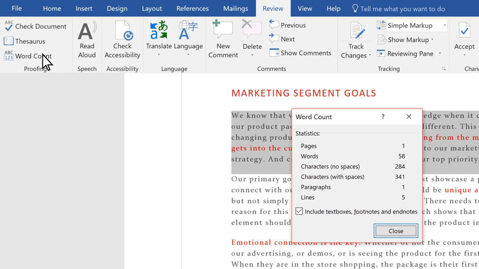 Video Show Word Count In Documents Word