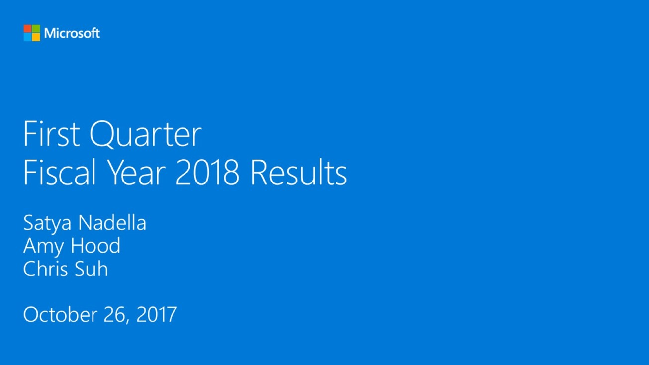 microsoft fiscal year 2018 first quarter earnings conference call