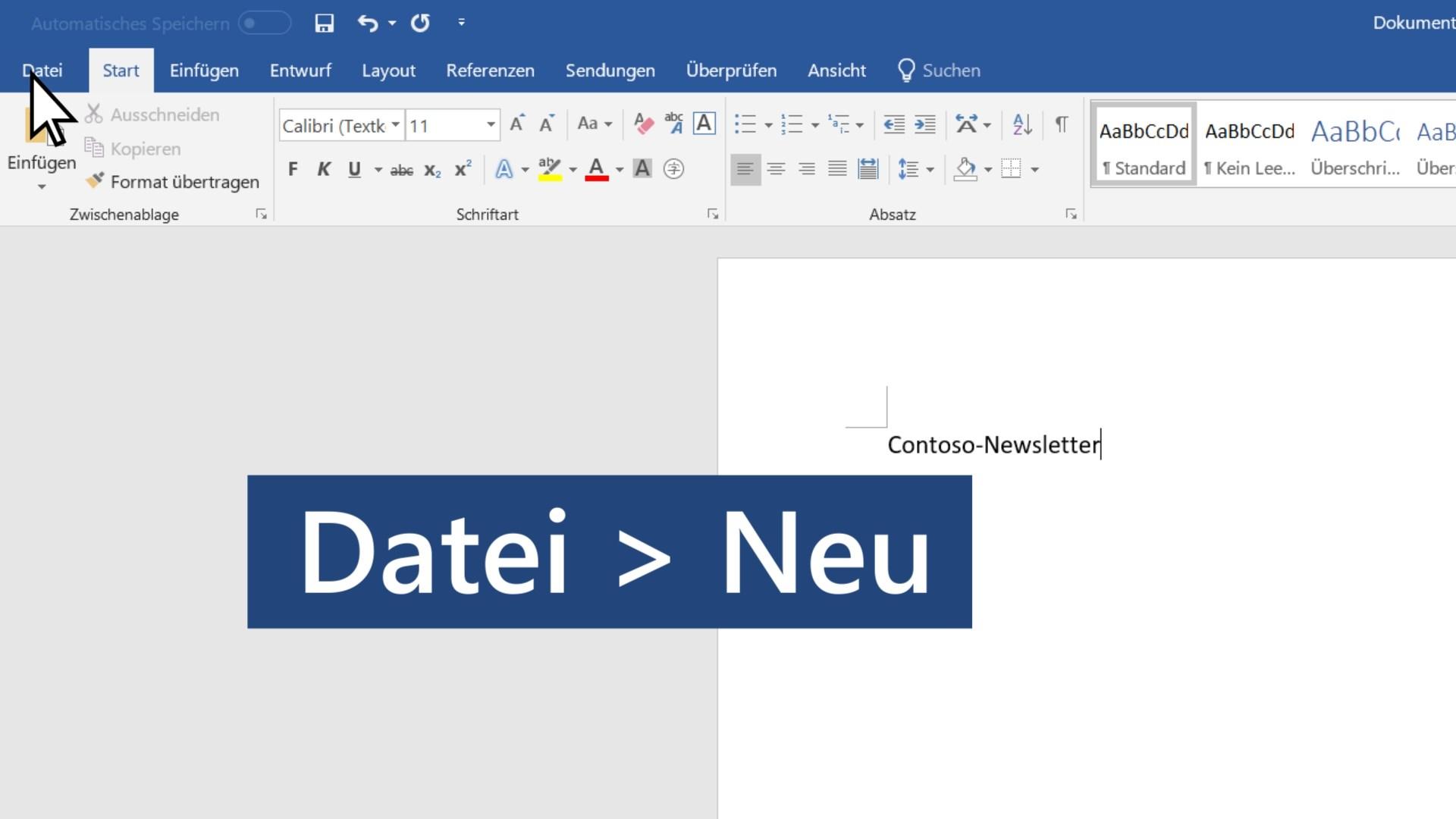 Erstellen Eines Dokuments Word