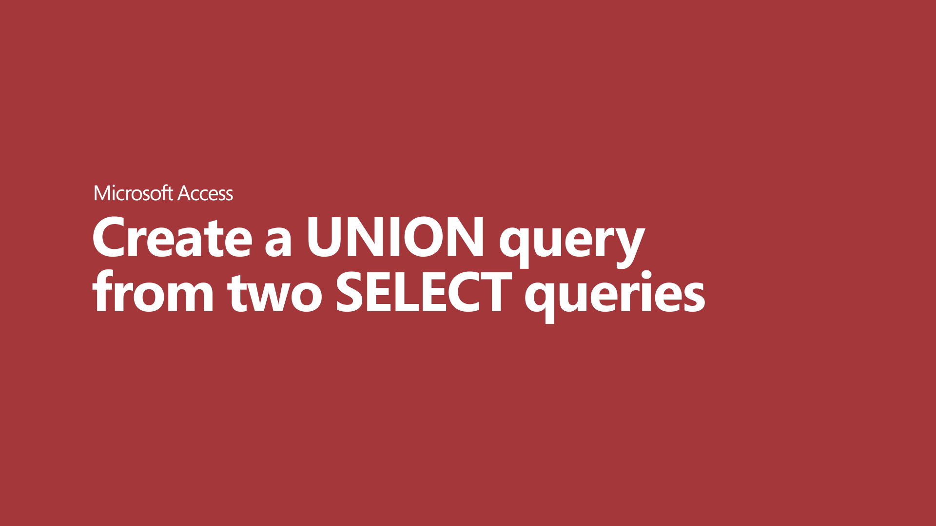 Format a UNION query