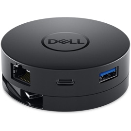 Front view of the Dell USB-C Mobile Adapter featuring ethernet, USB-C, and USB-A ports