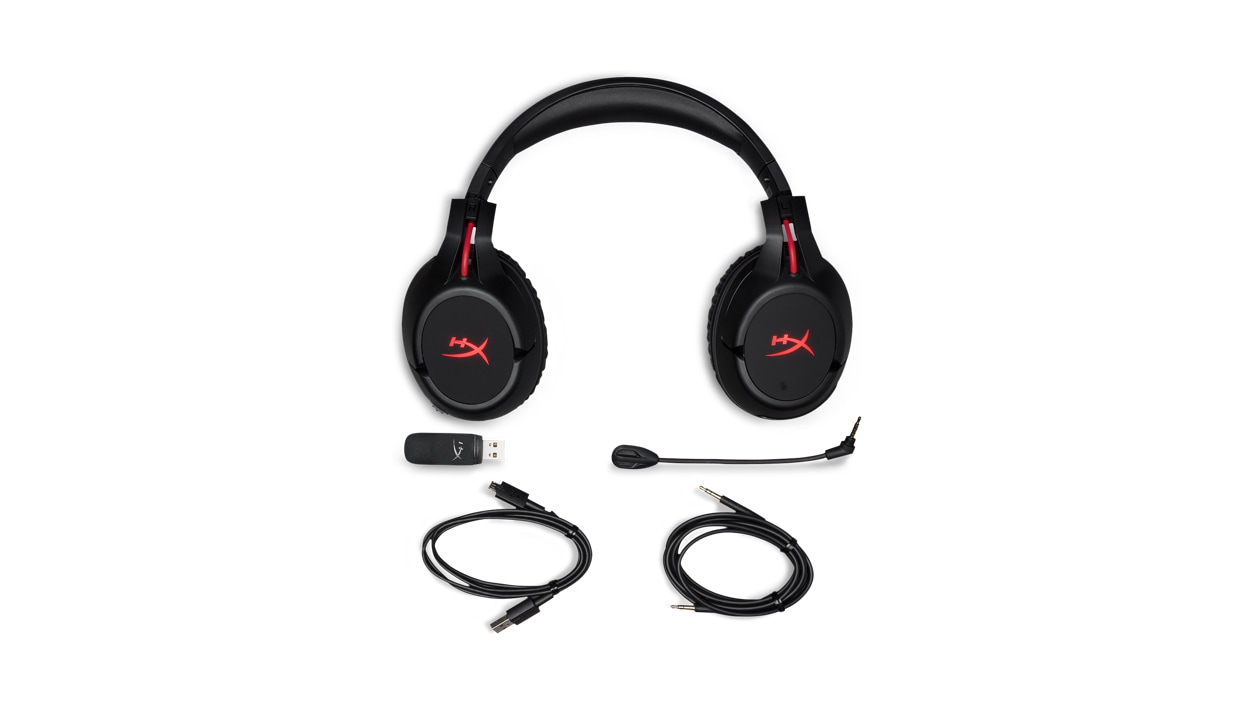 Front view of the Kingston HyperX Cloud Flight with the ear cups turned 90 degrees, above the detachable mic and cables that come with the headset